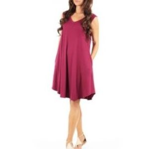 Burgundy Tunic Stretchy Loose Fit Short Dress M
